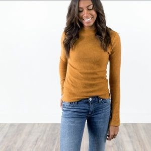 Mock neck long sleeve top in turmeric gold